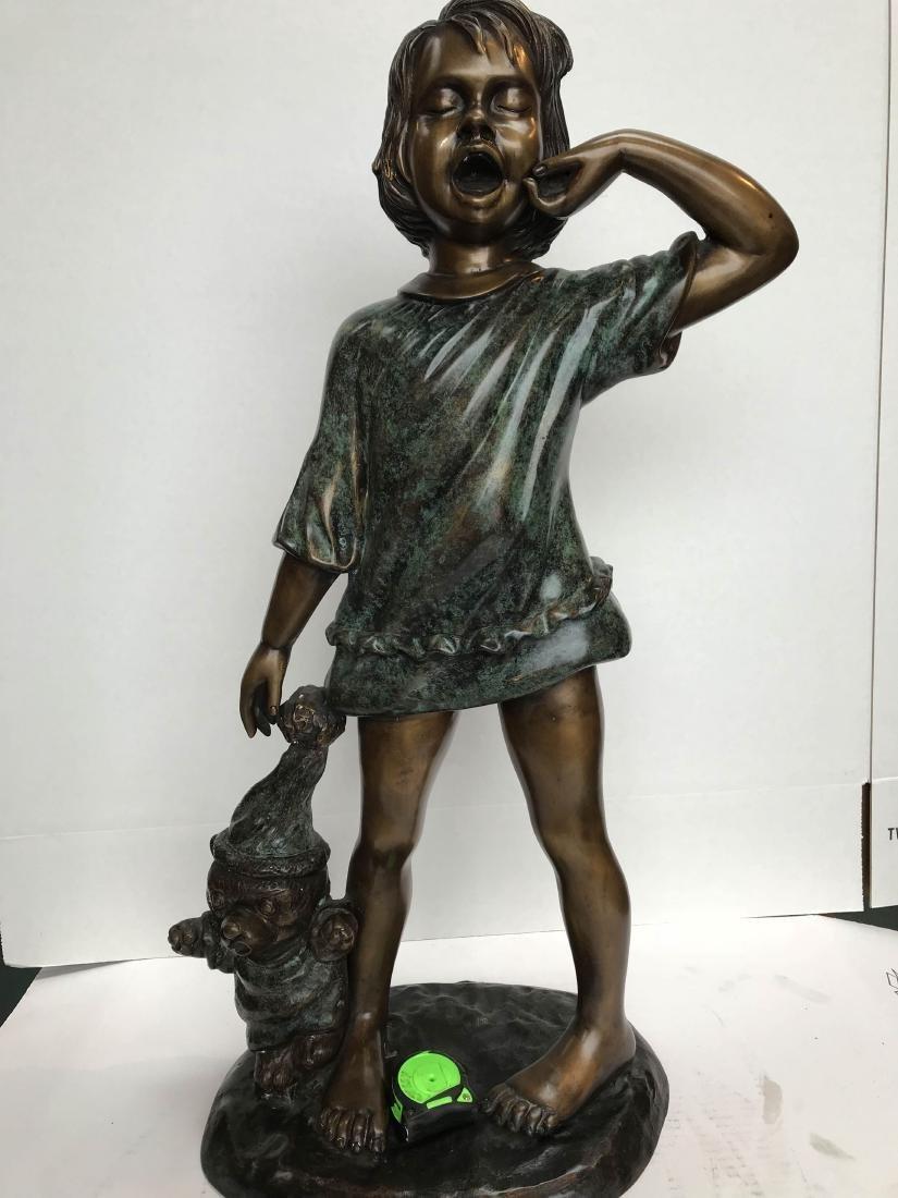 Bronze Statue of a Girl Yawning w/ Teddy Bear - 7