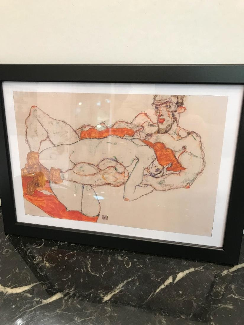 Erotic Watercolor Print of a Nude Man and Woman - 5