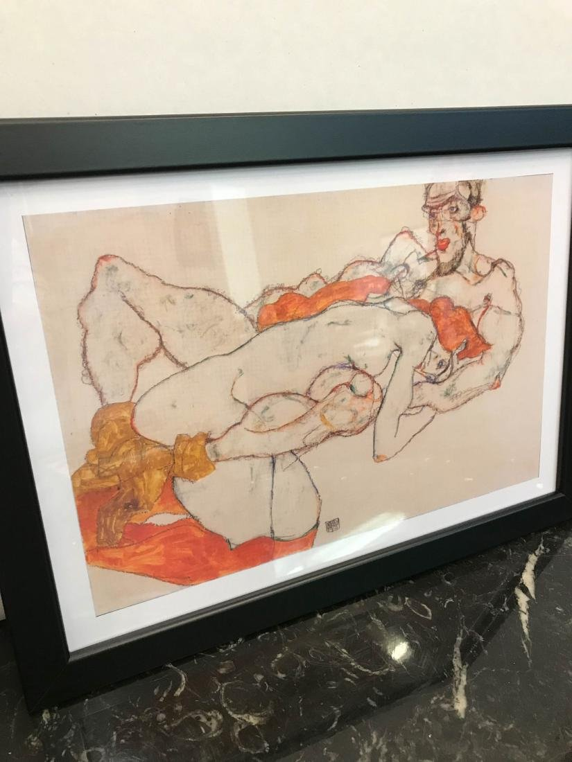 Erotic Watercolor Print of a Nude Man and Woman - 7