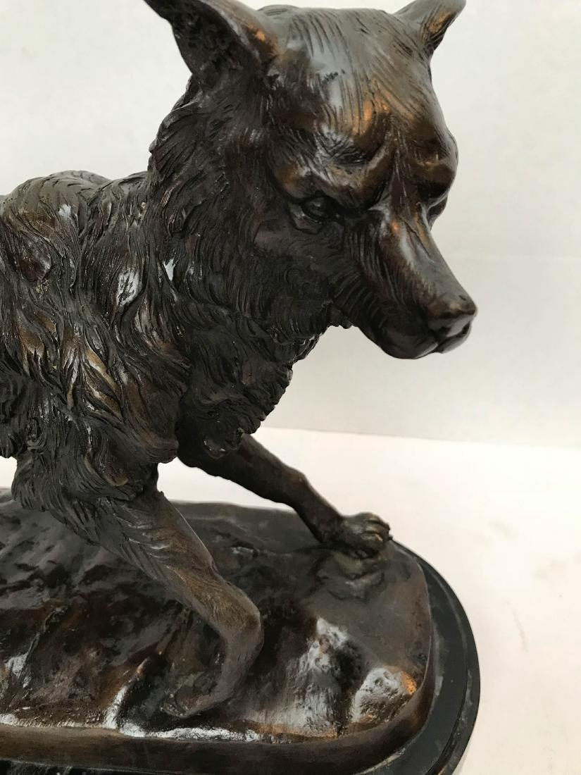 Unique Bronze Statue of Fox on Marble Base - 5
