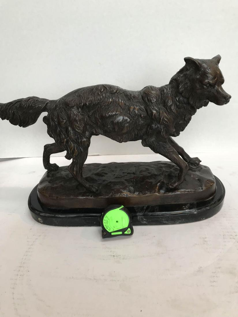 Unique Bronze Statue of Fox on Marble Base - 9