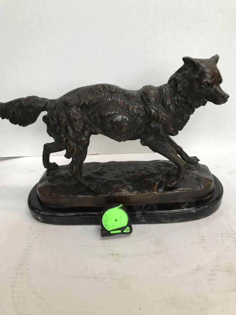 Unique Bronze Statue of Fox on Marble Base - 9