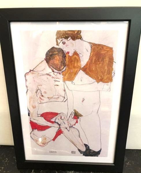 Erotic Watercolor Print of a Nude Man and Woman