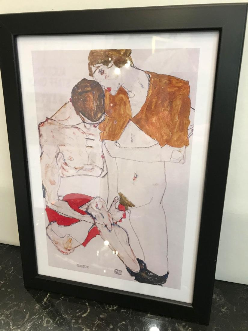 Erotic Watercolor Print of a Nude Man and Woman - 4