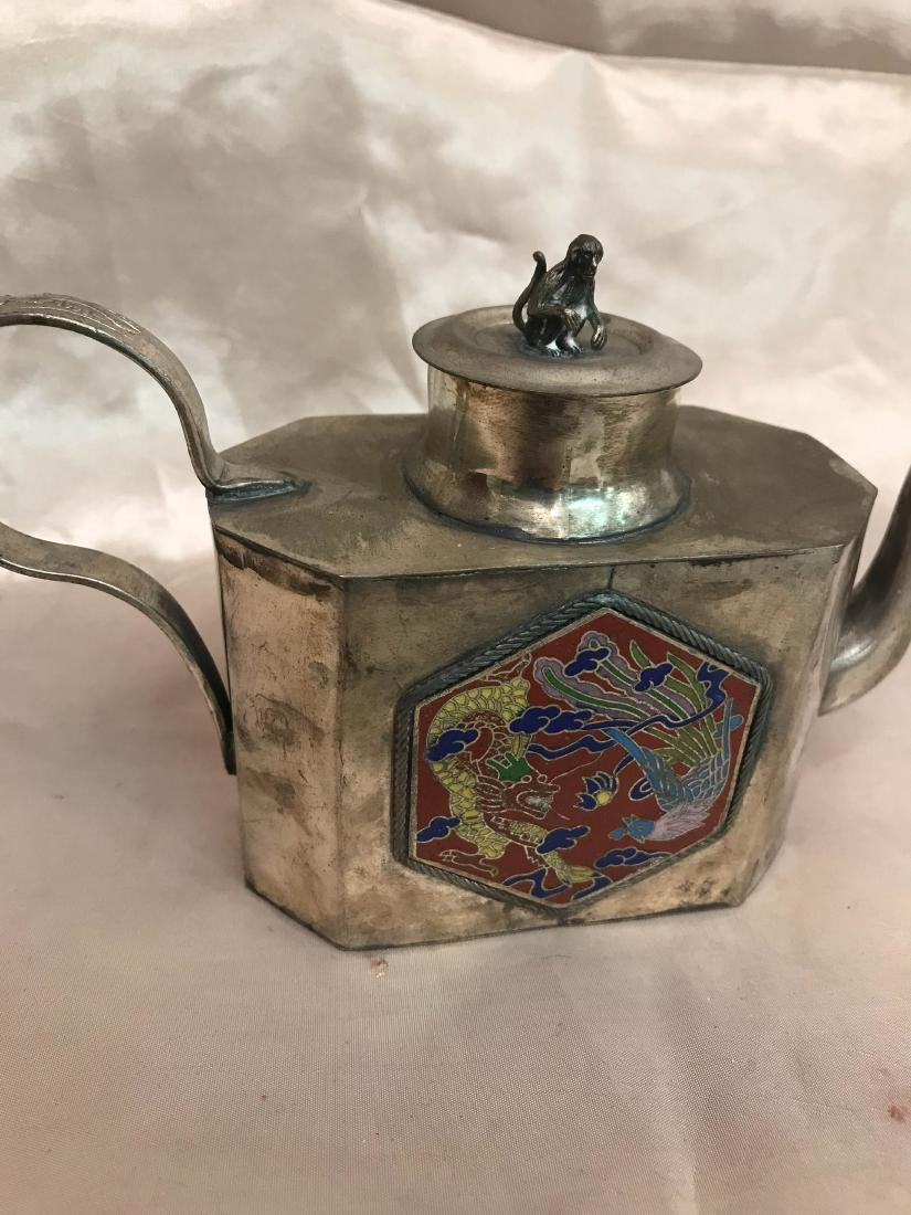 Antique Miniature Silver Tea Pot w/ Dragon Scene - 3