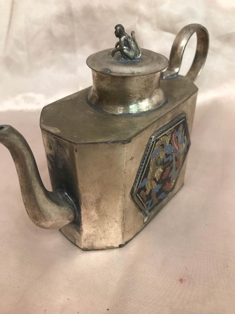Antique Miniature Silver Tea Pot w/ Dragon Scene - 5