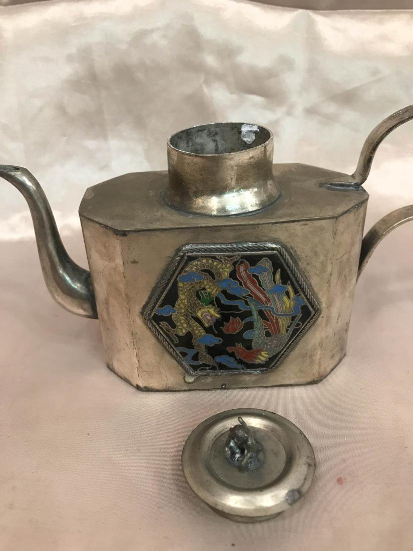 Antique Miniature Silver Tea Pot w/ Dragon Scene - 7