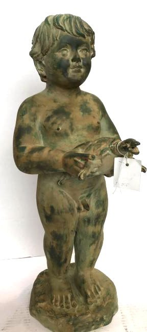 Green Patinated Bronze Boy w/ Turtle Fountain