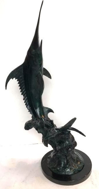 Green-Patinated Bronze Swordfish Statue