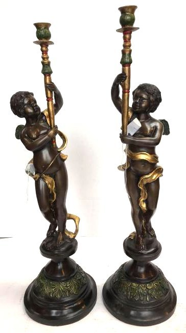 Pair of Bronze 24k Cherub Candlestick Holders