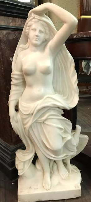 Solid White Carved Marble Statue of Woman