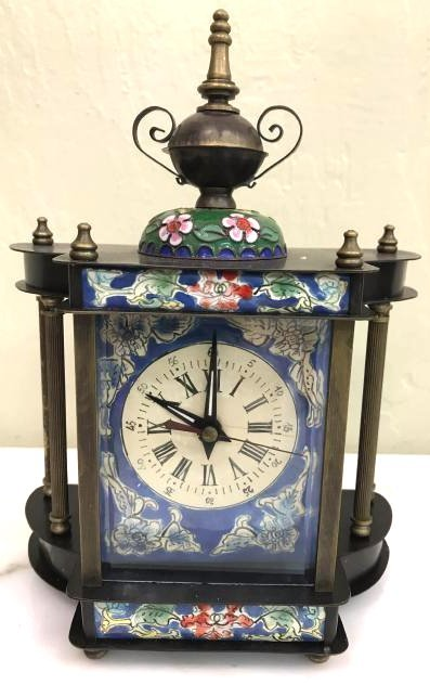 Miniature Cloisonne Mechanical Clock