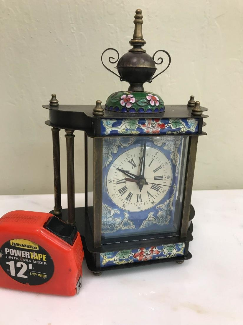 Miniature Cloisonne Mechanical Clock - 6