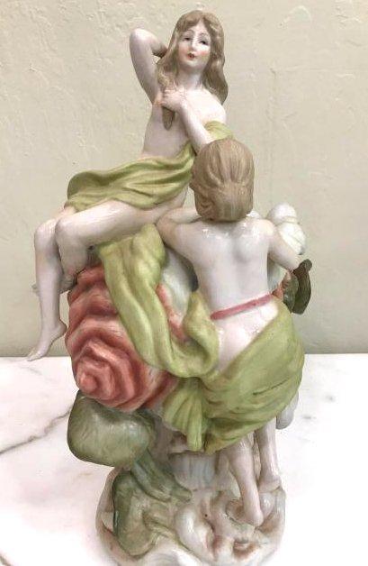 Porcelain Statue of Two Nude Women w/ Seashell