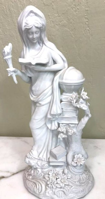 Unique Bisque Porcelain Statue of Woman