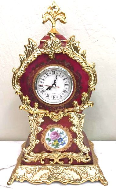 Porcelain Gilded Metal Clock by S. Linoges