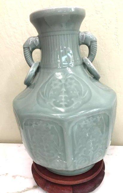 Porcelain Underglaze Vase with Elephants
