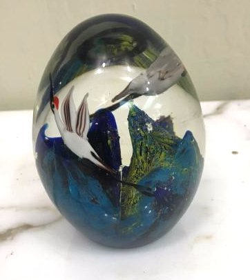 Glass Paperweight w/ 2 Cranes and Mountain