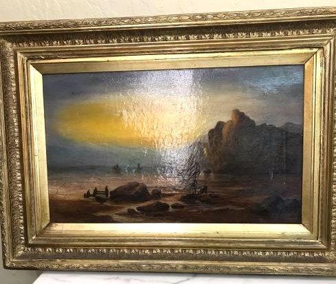 19th Century Oil on Canvas Painting of Beach Scene