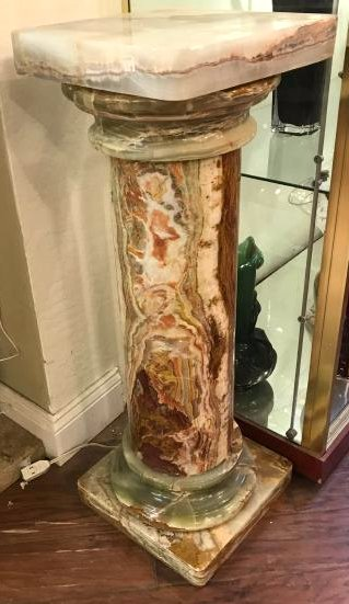 Onyx Pedestal w/ Brown, White, and Orange