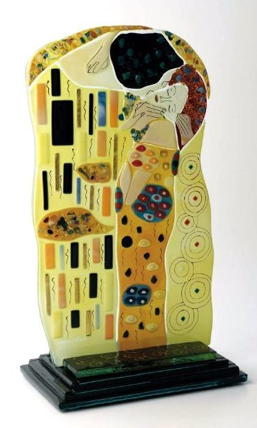 """""""The Kiss"""" Mosaic Glass Statue Signed by Artist"""