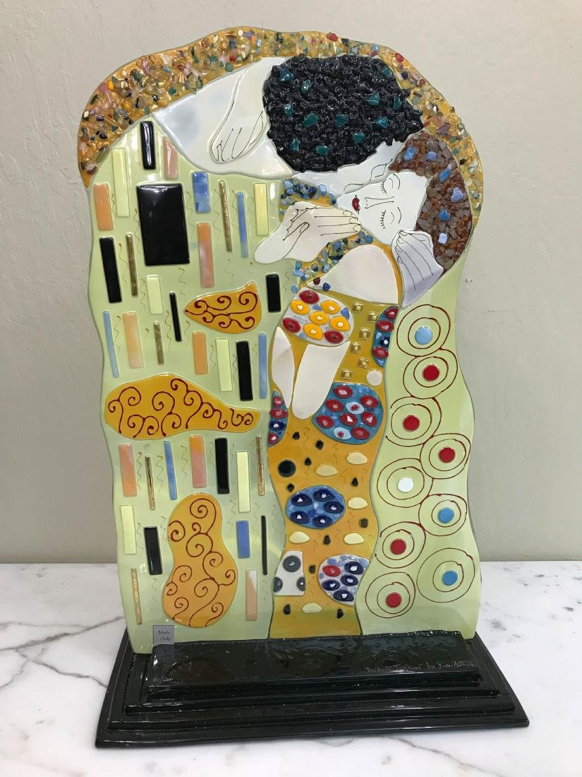 """""""The Kiss"""" Mosaic Glass Statue Signed by Artist - 2"""