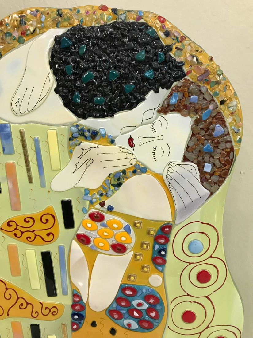 """""""The Kiss"""" Mosaic Glass Statue Signed by Artist - 3"""