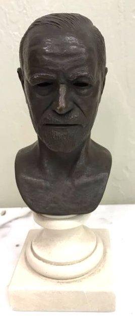 Bronze Sigmund Freud Bust on Marble Base, Signed