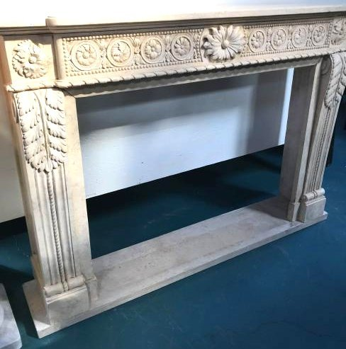 Exceptionally Carved Marble Fireplace