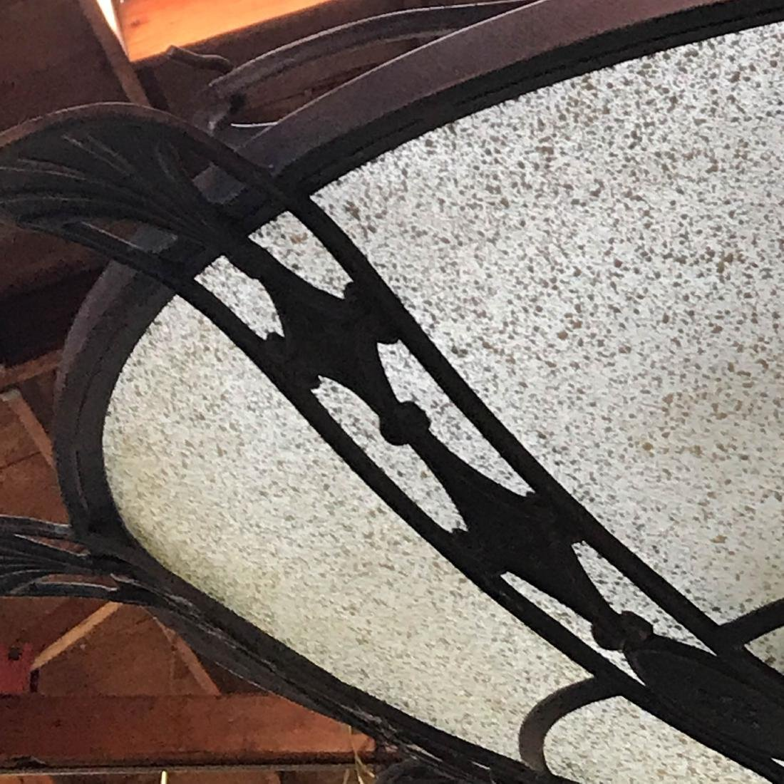 Frosted Glass and Wrought Iron Chandelier - 4
