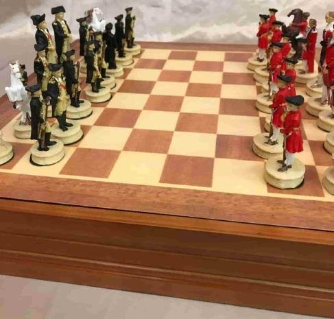 Revolutionary War Burled Wood Chess Set