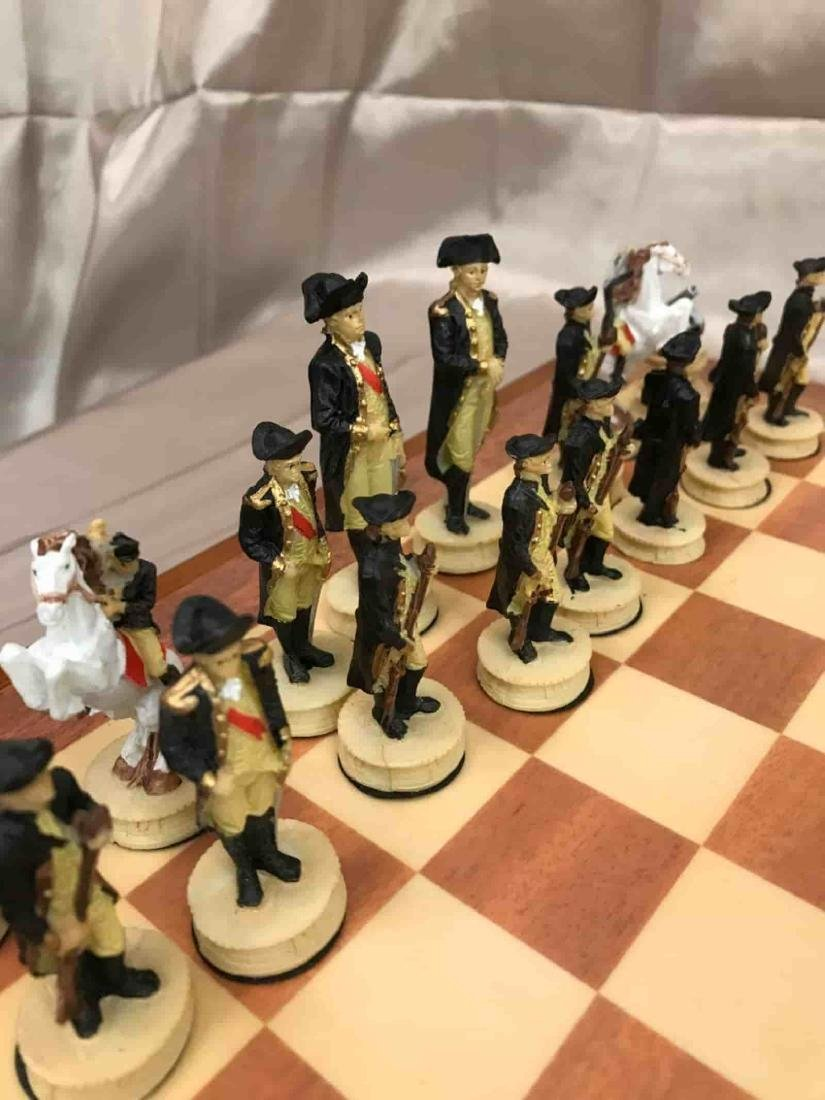 Revolutionary War Burled Wood Chess Set - 2