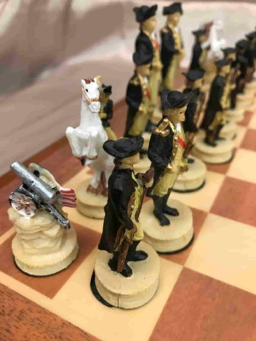 Revolutionary War Burled Wood Chess Set - 3