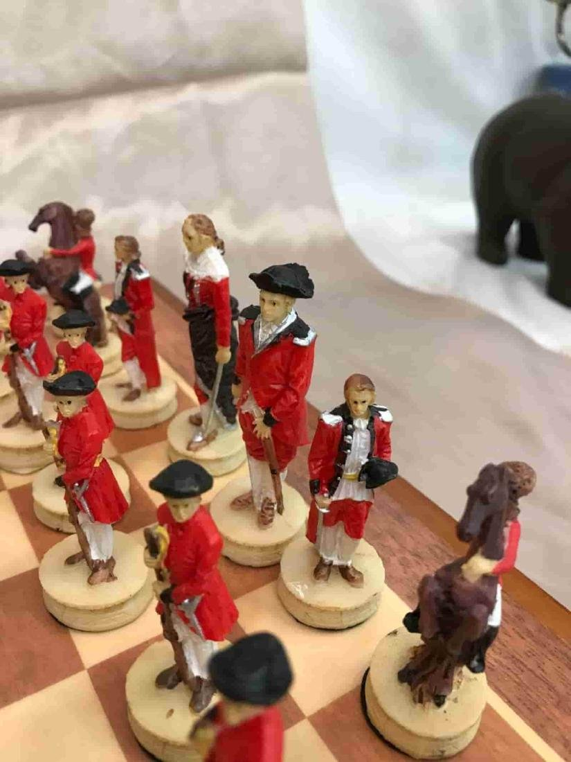 Revolutionary War Burled Wood Chess Set - 4