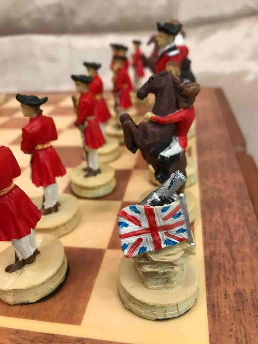 Revolutionary War Burled Wood Chess Set - 6