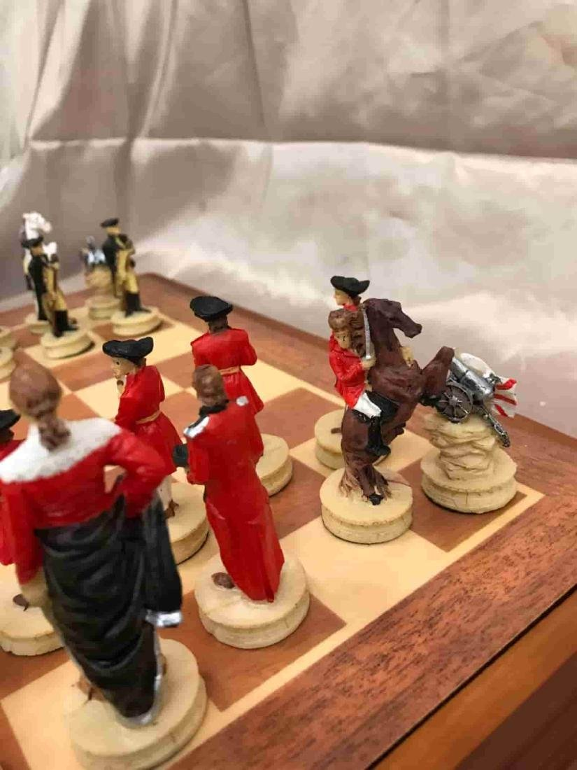 Revolutionary War Burled Wood Chess Set - 7
