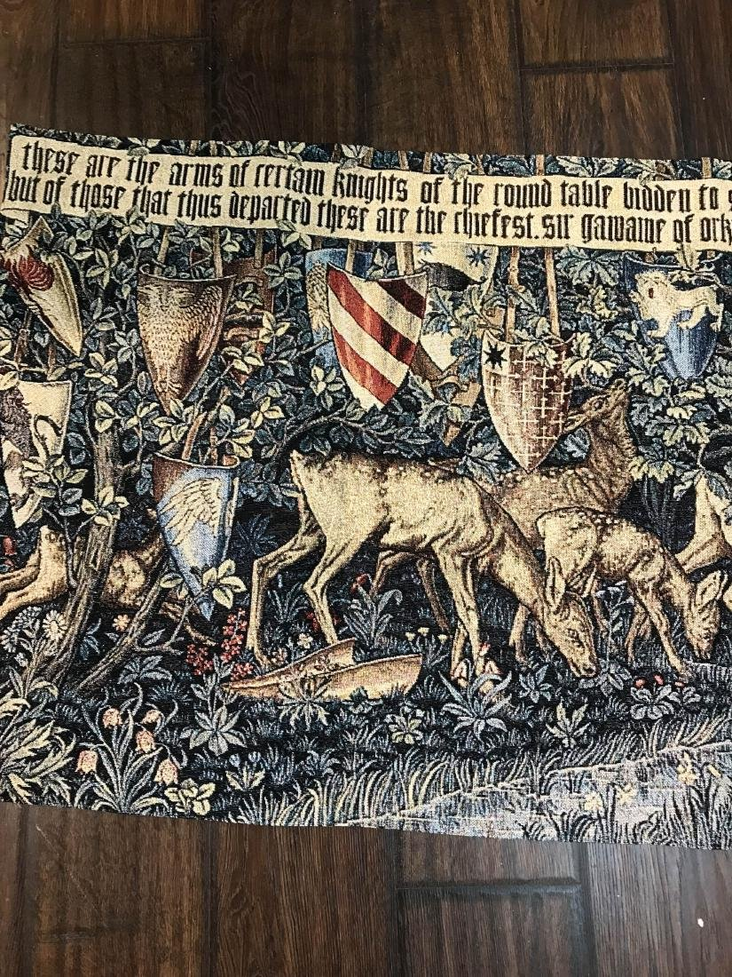 Medieval Style Tapestry with Deer in the Woods - 4