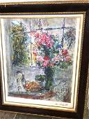 Marc Chagall Print of Scene w Flowers Bowl of Fruit