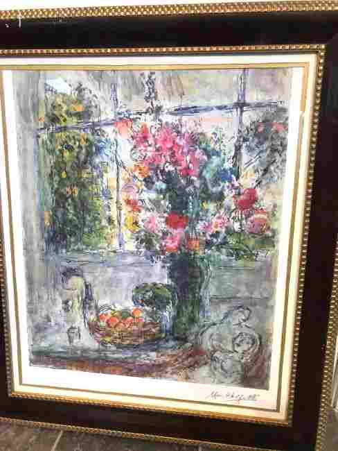 Marc Chagall Print of Scene w/ Flowers, Bowl of Fruit