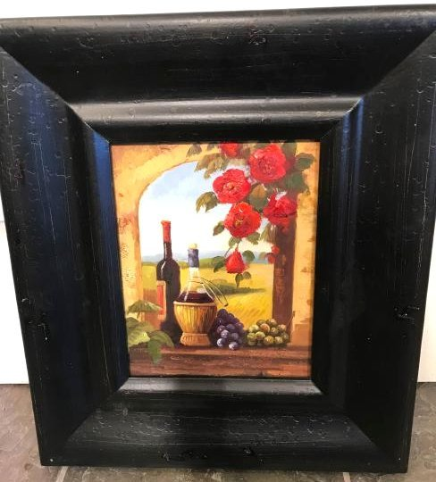 Small Oil Painting of Winery Scene, Framed