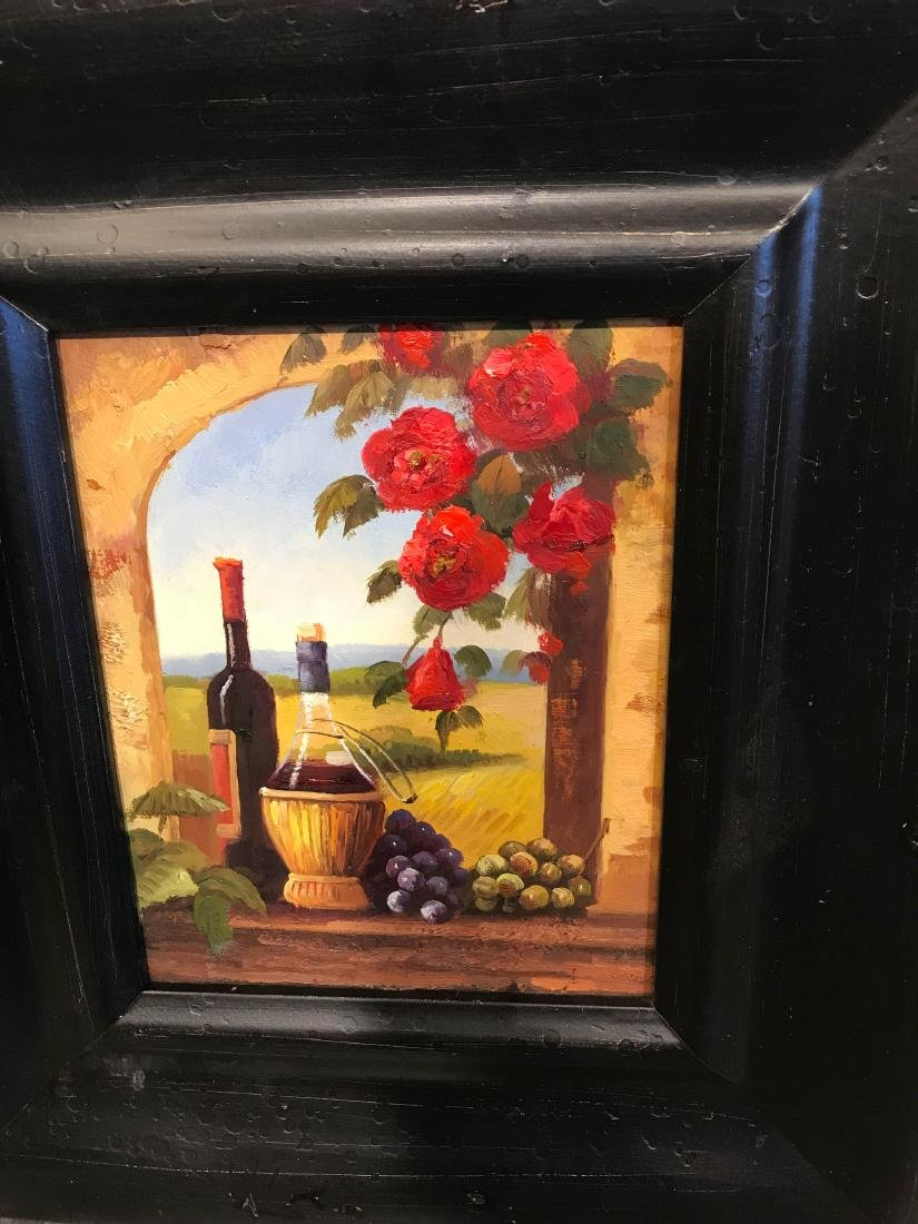 Small Oil Painting of Winery Scene, Framed - 2