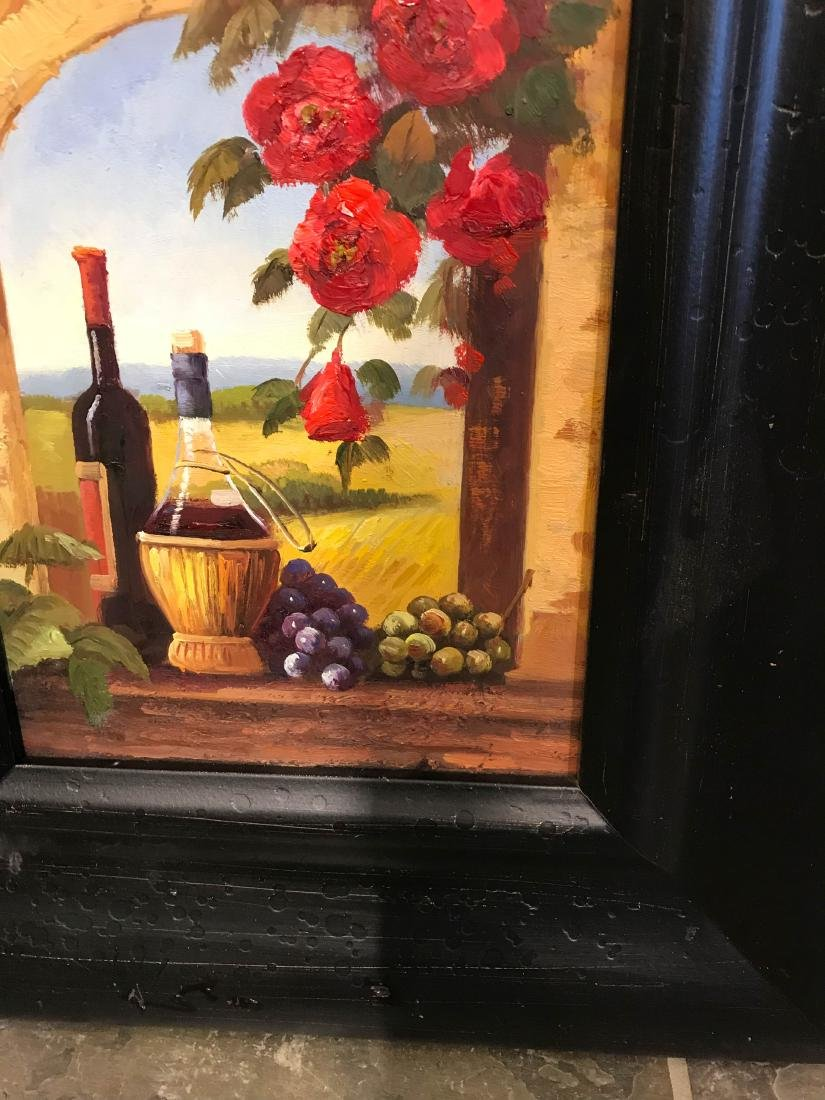 Small Oil Painting of Winery Scene, Framed - 3