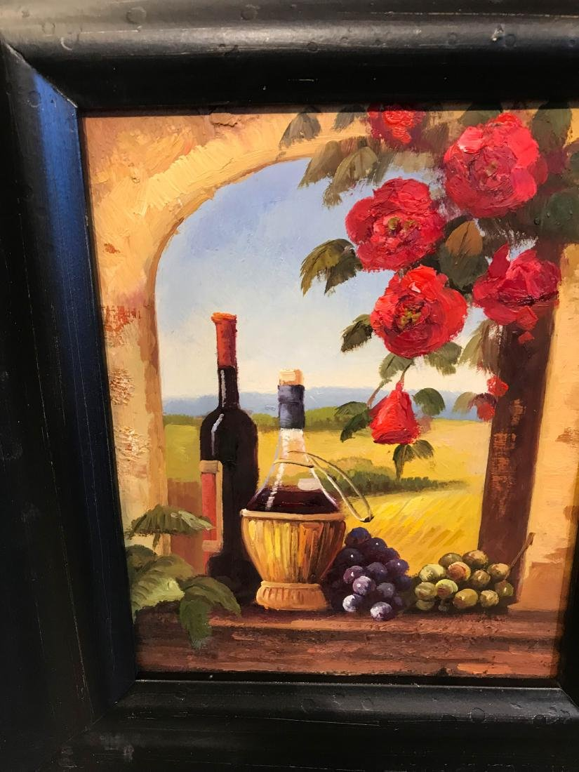 Small Oil Painting of Winery Scene, Framed - 5