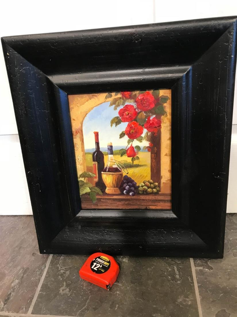 Small Oil Painting of Winery Scene, Framed - 7