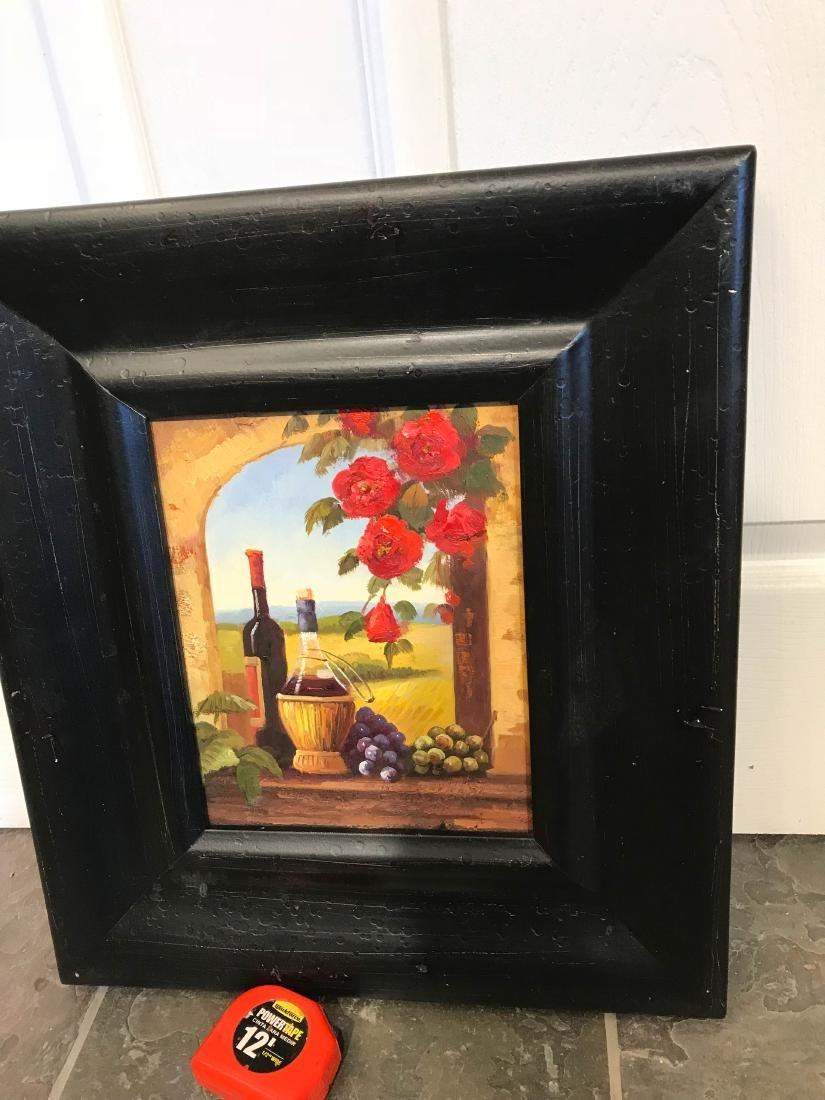 Small Oil Painting of Winery Scene, Framed - 8