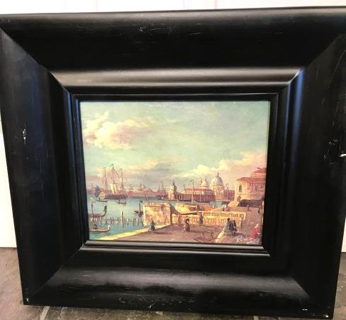 Small Oil Painting of Italian Sea Port Scene