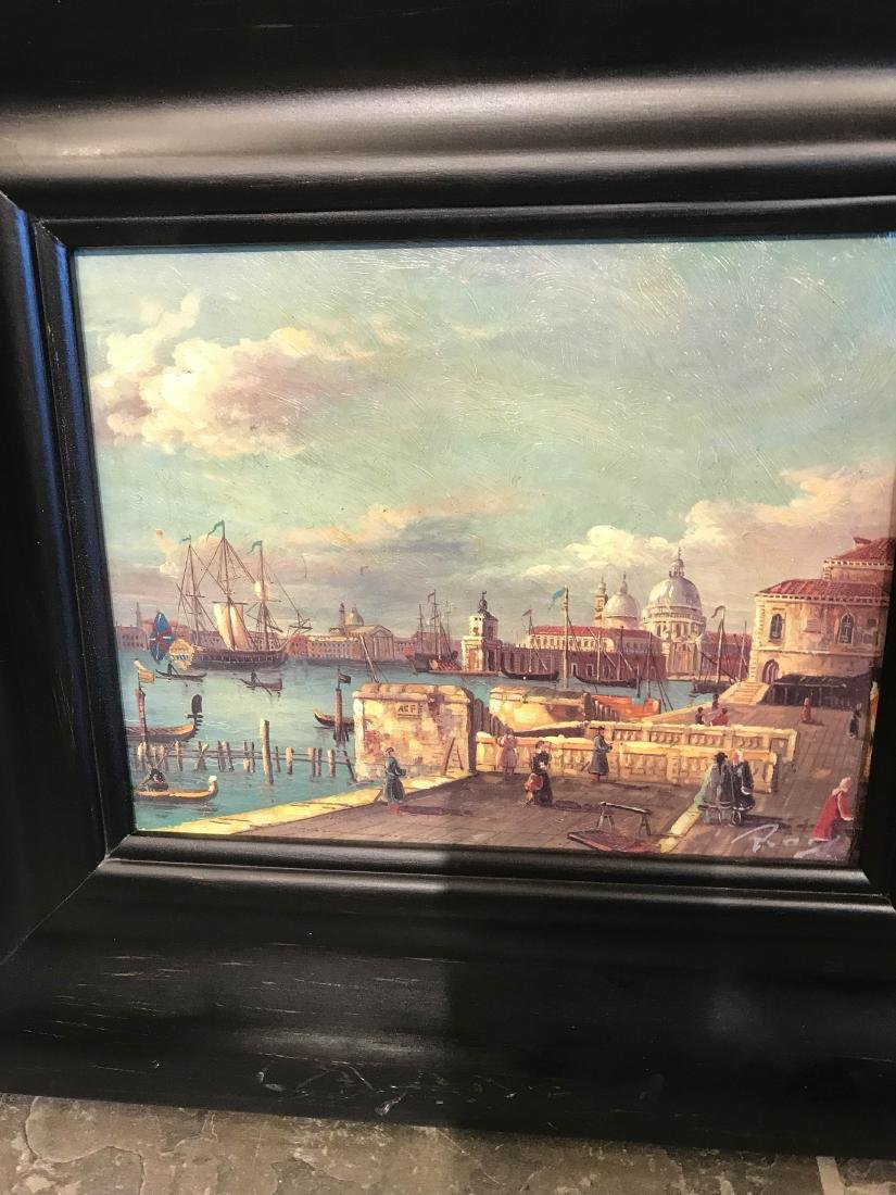 Small Oil Painting of Italian Sea Port Scene - 3