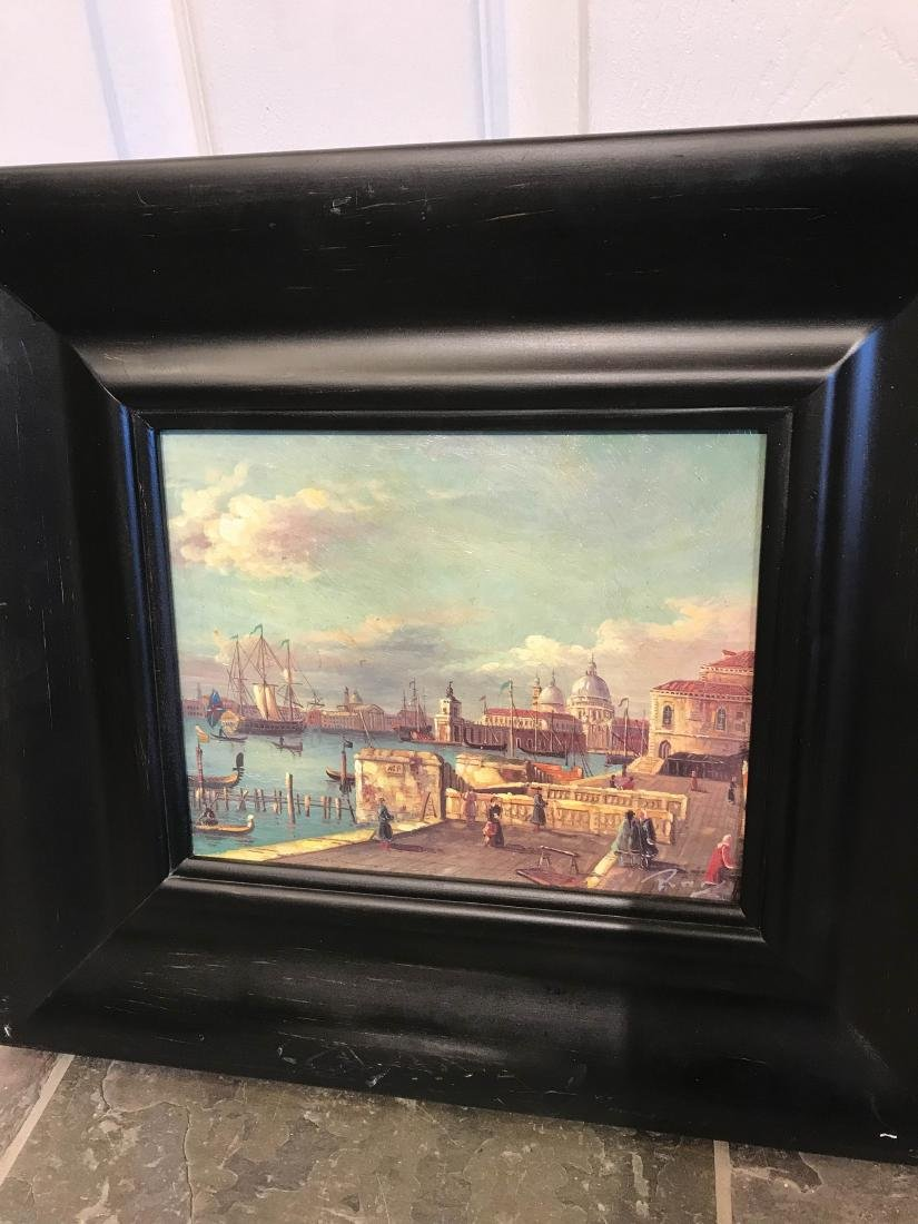 Small Oil Painting of Italian Sea Port Scene - 4