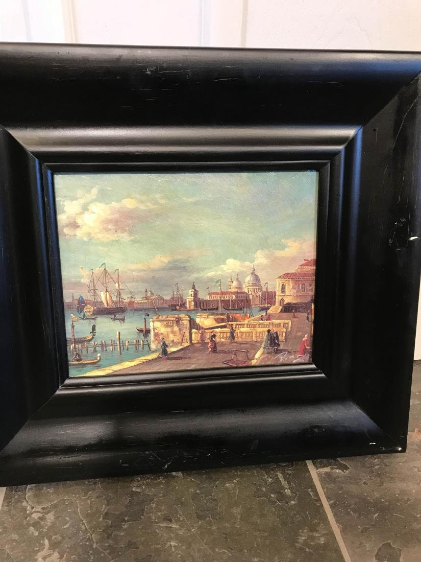 Small Oil Painting of Italian Sea Port Scene - 5