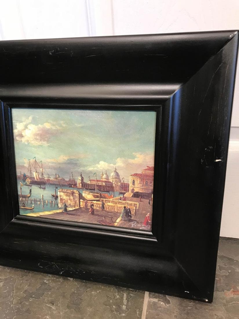 Small Oil Painting of Italian Sea Port Scene - 8